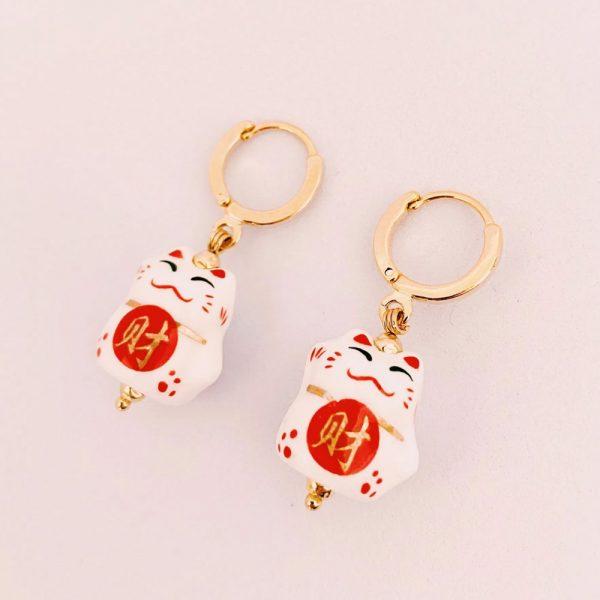 Ohrringe-Glückskatze-rot