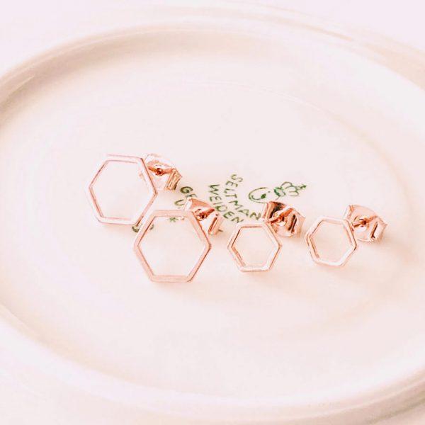Ohrstecker-Hexagon-roségold